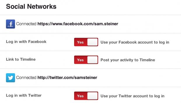 Social Network Einstellungen Pinterest