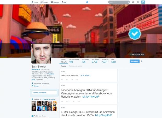 Neues Twitter-Layout auf altem Profil