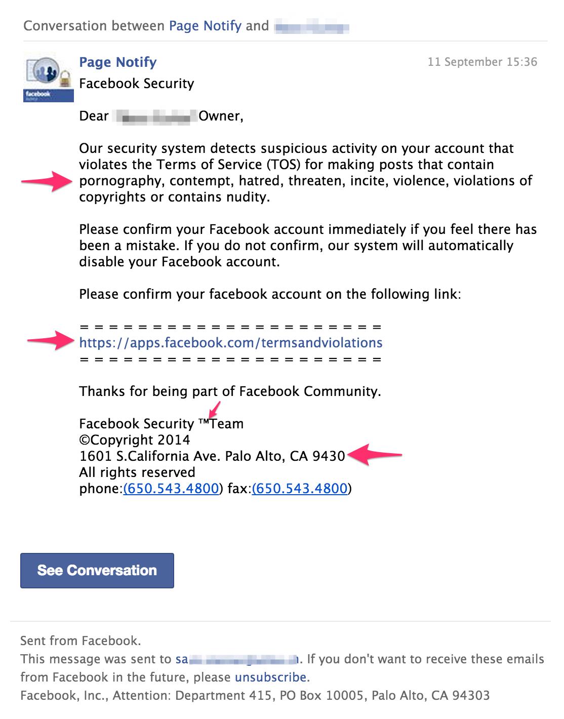 facebook page scam
